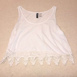 White Lace Trim Tank Top